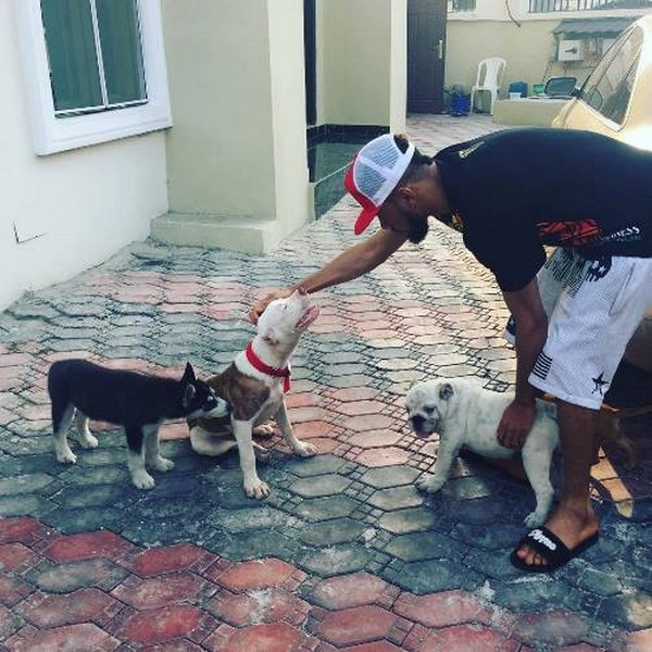 Rapper Phyno and his pets
