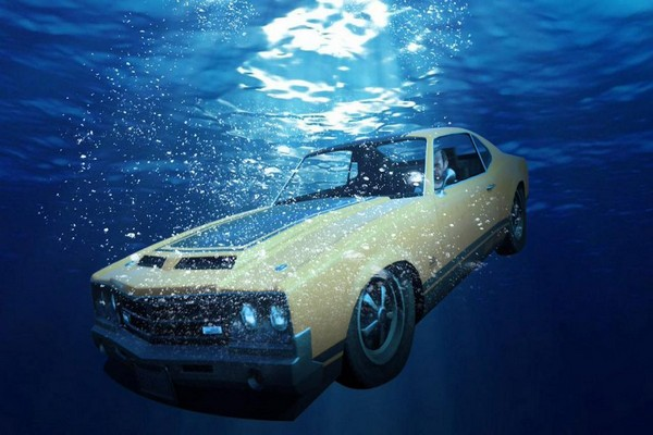 man-in-car-underwater