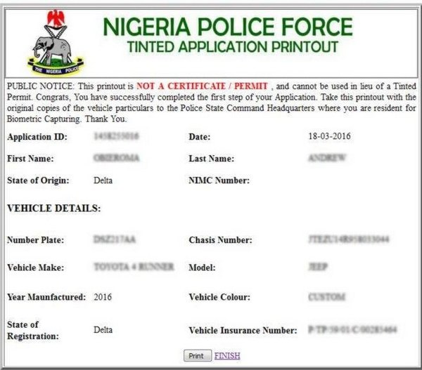 Tinted-permit-about-to-be-printed-out