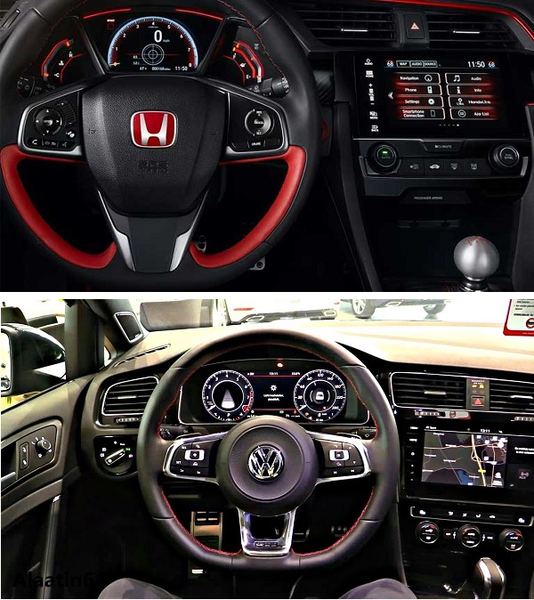 2019-Honda-Civic-Type-R-and-the-2019-Volkswagen-Golf-R-infotainment