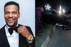 Hallelujah! MC Shakara miraculously escapes death in ugly auto crash!
