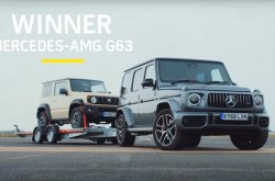Drag race between Suzuki Jimny and Mercedes-AMG G63 which is towing another Jimny!