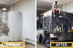 Car Art explosion! See how a man painted a white wall to look just like a bus